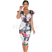 "THE ""LIVVI"" LUXE FLORAL MIDI BODYCON DRESS W/ RUFFLE CAP SLEEVES..."