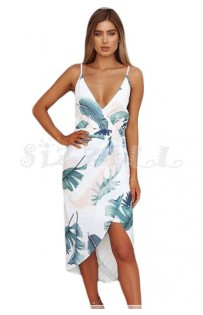 "THE "" JENNY"" WHITE W/ PALM PRINT  PLUNGING NECKLINE LUXE FLORAL FRONT WRAP DRESS..."