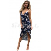 "THE "" JENNY"" NAVY FLORAL PLUNGING NECKLINE LUXE FLORAL FRONT WRAP DRESS..."
