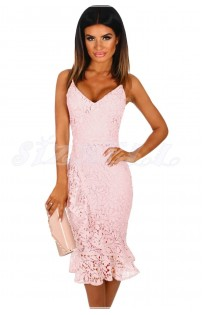 "THE ""FRIA"" LUXE CROCHET FLORAL LACE PINK DRESS W/ SIDE RUFFLE ..."