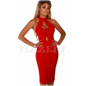"THE ""PETRA"" CUT-OUT TWIST HALTER BODYCON LUXE MIDI DRESS... RED..."