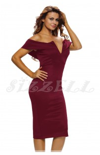 "THE ""BARDOT"" OFF SHOULDER V-CUT BUSTLINE MIDI DRESS... WINE..."