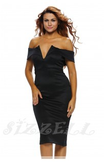 "THE ""BARDOT"" OFF SHOULDER V-CUT BUSTLINE MIDI DRESS... BLACK...."