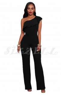"THE ""ZEA"" ONE SHOULDER RUFFLE LUXE WIDE LEG JUMPSUIT...  BLACK..."
