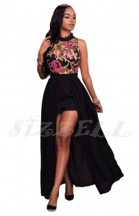 "THE ""FLORA"" LUXE FLORAL EMBROIDERED ROMPER MAXI...  BLACK..."