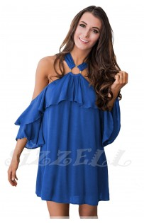 "THE ""RENE"" OFF SHOULDER O-RING HALTER W/ RUFFLES MINI DRESS... COBALT BLUE..."