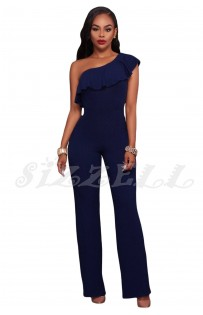 "THE ""ZEA"" ONE SHOULDER RUFFLE LUXE  WIDE LEG JUMPSUIT...  DARK NAVY...."