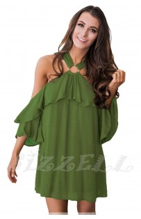 "THE ""RENE""  OFF  SHOULDER O-RING HALTER W/ RUFFLES MINI DRESS...  OLIVER GREEN..."