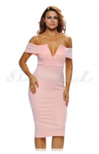 "THE ""BARDOT"" OFF SHOULDER V-CUT BUSTLINE MIDI DRESS... BUBBLEGUM...."
