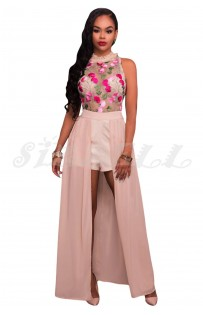 "THE ""FLORA"" LUXE FLORAL EMBROIDERED ROMPER MAXI... PINK SUGAR..."