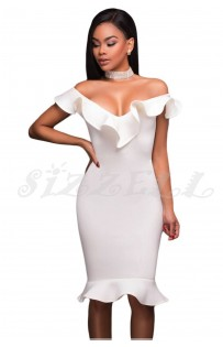 "THE ""HELENA""  STUNNING ELEGANT LUXE RUFFLE NECKLINE W/  MERMAID HEM MIDI DRESS..."