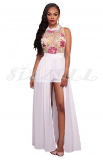 "THE ""FLORA"" LUXE FLORAL EMBROIDERED ROMPER MAXI... WHITE..."
