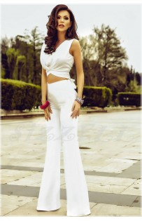 "THE ""LENA"" LUXURY WHITE COP TOP & MATCHING HIGH WAISTED WIDE LEG TROUSER SET..."