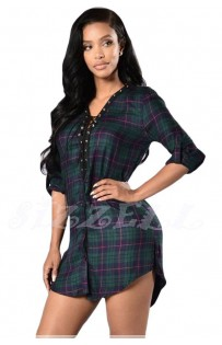 "THE ""DELLA"" LACE-UP PLAID SHIRT DRESS... EMERALD PLAID MULTI ..."