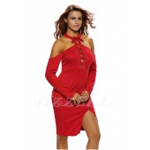 "THE ""VIE"" OFF-SHOULDER LACE UP MIDI DRESS... RED...."