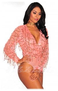 "THE ""KLEA"" LUXE SEQUINS BODYSUIT... PINK CHAMPAGNE..."