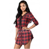 "THE ""DELLA"" LACE-UP PLAID SHIRT DRESS... RED PLAID MULTI ..."