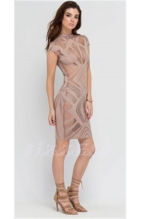 "THE ""NAKED""  LUXE BOLD SEXY BODYCON DRESS...  NUDE..."