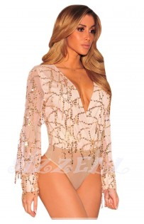 "THE ""KLEA"" LUXE SEQUINS BODYSUIT...  NUDE CHAMPAGNE..."