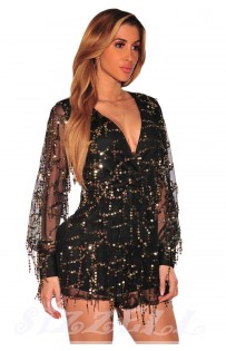 "THE ""EVETTE"" LUXURY SEQUINS ROMPER... BLACK..."