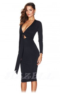 "THE ""CHLOE"" LUXE FRONT TIE MIDI BODYCON DRESS..."