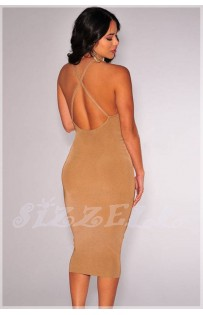 "THE ""LORRE""  CRISSCROSS LOW BACK LUXE BODYCON SLIP DRESS...  HONEY NUDE.."