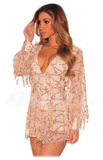 "THE ""EVETTE"" LUXURY SEQUINS ROMPER.. NUDE CHAMPAGNE.."
