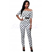 "THE "" REANNE"" GRAPHIC PRINT OFF-SHOULDER LUXE JUMPSUIT..  WHITE/BLACK.."