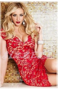 "THE ""BELLA""  LUXURY STUNNING RED LACE DRESS W/ JEWELED ACCENTS.."