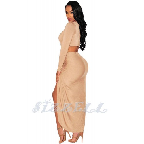 "THE ""MIRA""  DEEP -V  CUT OUT FRONT DRAPE MAXI DRESS...NUDE CHAMPAGNE..."