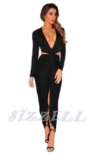 "THE ""MIRA"" DEEP -V CUT OUT FRONT DRAPE MAXI DRESS....  BLACK..."