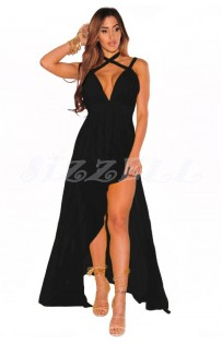 "THE ""ARMIS"" CRISSCROSS HALTER MAXI GODDESS DRESS... BLACK..."