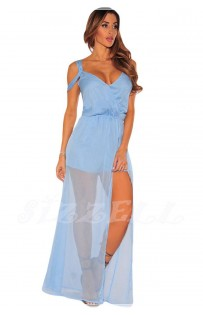 "THE ""PAMELA""  STRAPPY OFF SHOULDER ROMPER MAXI... SKY BLUE ..."