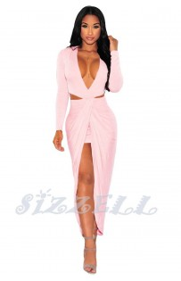 "THE ""MIRA"" DEEP -V CUT OUT FRONT DRAPE MAXI DRESS... PINK BLUSH..."