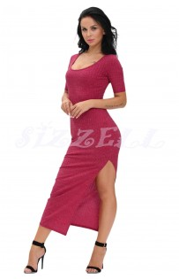 "THE ""WINNIE"" RIBBED LUXE HIGH SLIT MAXI DRESS...  BERRY PUNCH..."