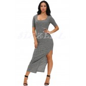 "THE ""WINNIE"" RIBBED LUXE HIGH SLIT MAXI DRESS... STEEL GREY..."