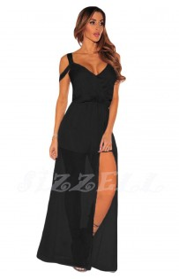 "THE ""PAMELA"" STRAPPY OFF SHOULDER ROMPER MAXI... BLACK..."