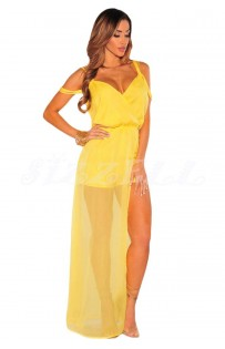 "THE ""PAMELA"" STRAPPY OFF SHOULDER ROMPER MAXI... MARIGOLD..."