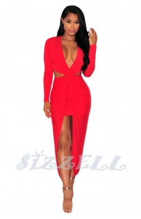 "THE ""MIRA"" DEEP -V CUT OUT FRONT DRAPE MAXI DRESS.... RED..."
