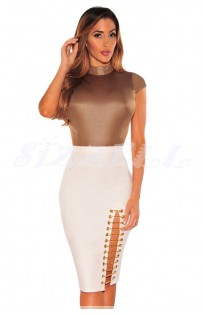 "THE ""INDA""  WHITE BODYCON SIDE SLIT SKIRT W/ CHAIN DETAIL...."