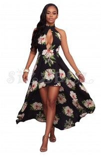"THE ""LEA""  BLACK FLORAL HALTER LUXE DRESS W/ HIGH LOW HEM...."