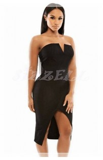 "THE ""RITA"" STRAPLESS MIDI DRESS.. BLACK..."
