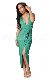 "THE ""REA"" DRAPED FRONT MAXI DRESS.. TEAL..."