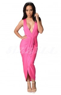 "THE ""REA"" DRAPED FRONT MAXI DRESS.. PINK..."