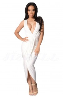 "THE ""REA"" DRAPED FRONT MAXI DRESS..  WHITE.."