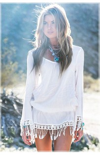 "THE "" WILAI"" BOHO TASSEL HEM BEACH DRESS.."