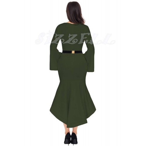 "THE ""ELISE"" BELL SLEEVED DIP HEM LUXE MIDI DRESS W/ GOLD METAL BAR BELT... OLIVE..."