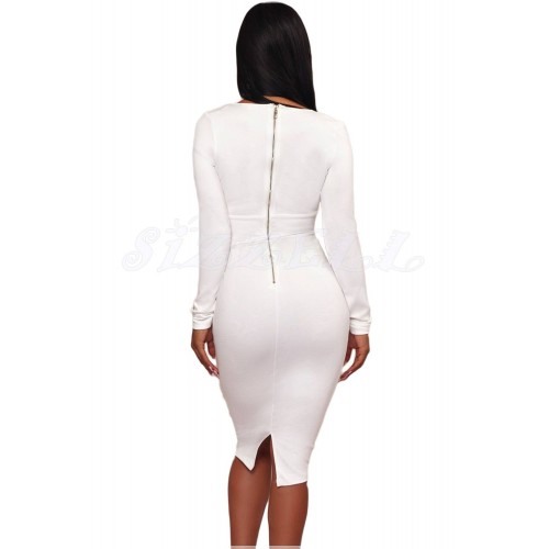 "THE "" KIMBERLY"" LUXE EMBELLISHED WAIST DEEP -V NECKLINE BODYCON DRESS... WHITE..."
