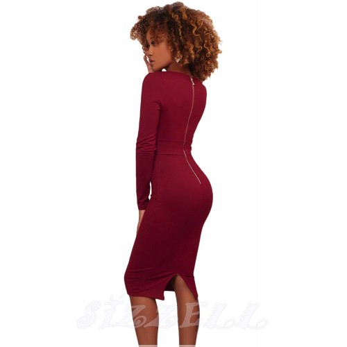"""THE """" KIMBERLY"""" LUXE EMBELLISHED WAIST DEEP -V NECKLINE BODYCON DRESS...  BERRY..."""