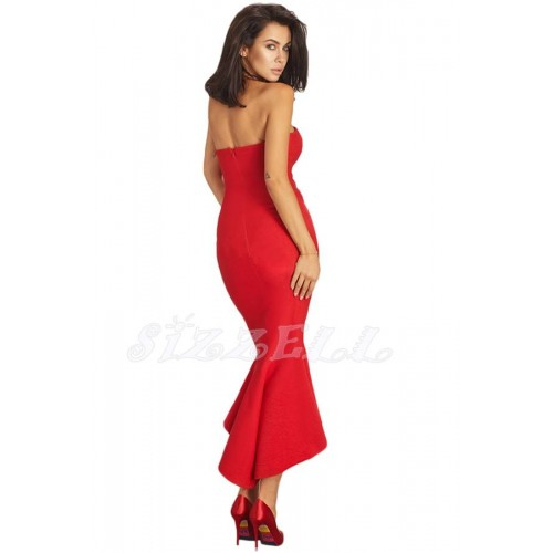"THE ""LANA"" LUXE STRABLESS ASYMETRIC RUFFLE HEM BODYCON DRESS... LIPSTICK RED..."